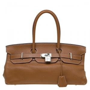 Hermes Brown Clemence Leather Palladium Hardware Shoulder Birkin 42 Bag