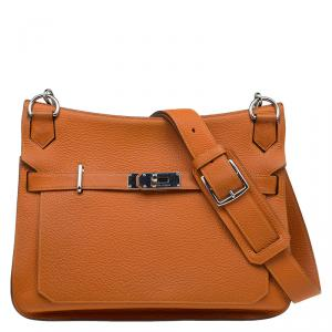 Hermes Orange Taurillon Clemence Leather Jypsiere 34 Bag