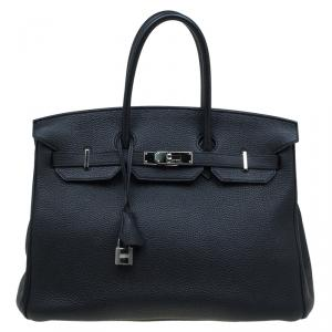 Hermes Noir Togo Leather Palladium Hardware Birkin 35 Bag