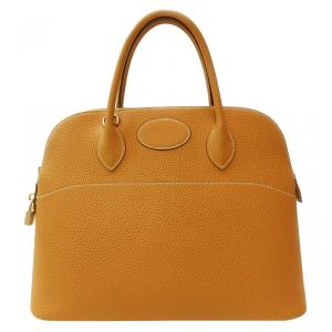 Hermes Gold Taurillon Clemence Leather Bolide 31 Bag