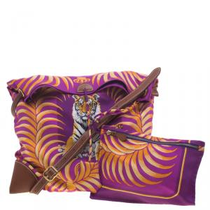 Hermes Multicolor Tiger Printed Silk and Swift Leather Silky City 33 Bag