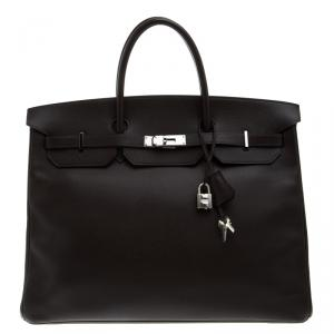 Hermes Cacao Epsom Leather Palladium Hardware Birkin 40 Bag