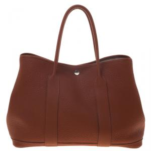 Hermes Brown Brique Fjord Leather Garden Party MM Tote