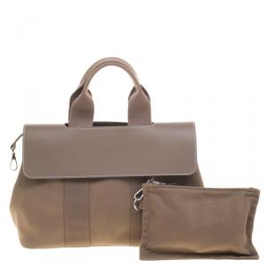 Hermes Taupe Fabric and Leather Valparaiso PM Bag