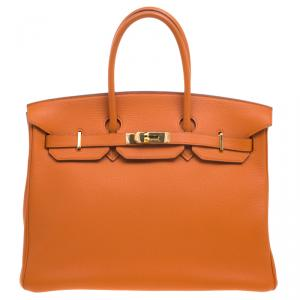 Hermes Orange Togo Leather Gold Hardware Birkin 35 Bag