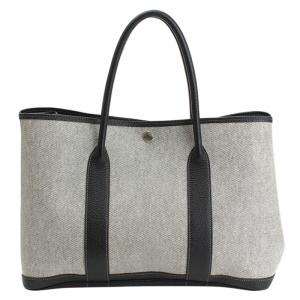 Hermes Bi Color Canvas/Leather garden Party PM Bag