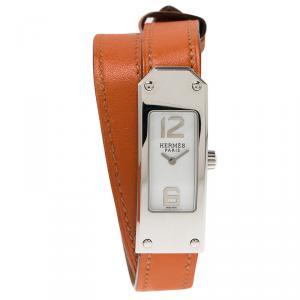 ساعة يد نسائية هيرمس كيلي 2 دوبل تور ستانلس ستيل بيضاء 16مم