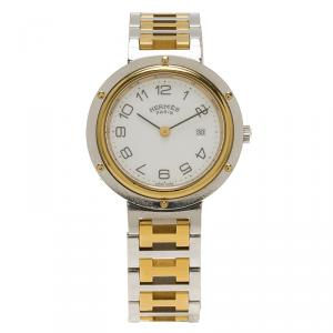 Hermes White Gold-Plated Stainless Steel Clipper Women's Wristwatch 30MM