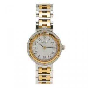 Hermes White Gold-Plated Stainless Steel Clipper Women's Wristwatch 24MM