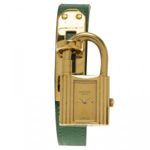 Hermes Champagne Gold-Plated Steel Kelly Women's Wristwatch 20MM