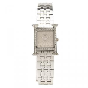 Hermes Cream Stainless Steel Diamonds Heure H Women's Wristwatch 21MM