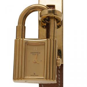 ساعة يد هيرميس كيلي ستانلس ستيل  غولد مطلي بالذهب نسائي 20 مم