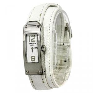 ساعة يد نسائية هيرمس كيلي 2 دوبل تور ستانلس ستيل بيضاء 15مم
