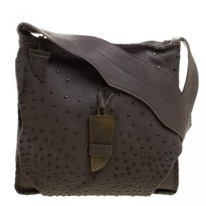 House Of Harlow 1960 Fatigue Green Leather Studded Devon Messenger Bag