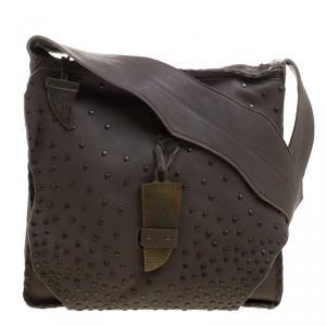 حقيبة ماسنجر هاوس اوف هارلو 1960 ديفون مرصعة جلد خضراء فاتيغو