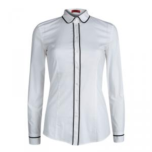 HUGO by Hugo Boss White Contrast Piping Long Sleeve Button Down Cotton Shirt S