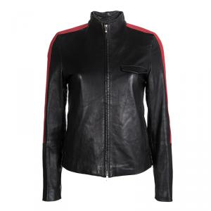 Hugo Boss Black Lamb Leather Contrast Stripe Detail Biker Jacket XS