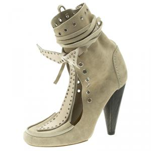 Isabel Marant Beige Suede Milla Eyelet Ankle Boots Size 38