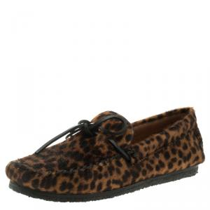 Isabel Marant Étoile Leopard Print Calf Hair Fell Bow Moccasins Size 37