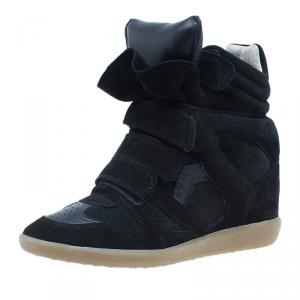 Isabel Marant Black Suede Bekett Wedge Sneakers Size 38
