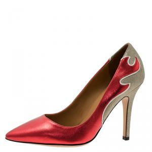 Isabel Marant Red Leather and Silver Suede  Étoile Gilby Pumps Size 38