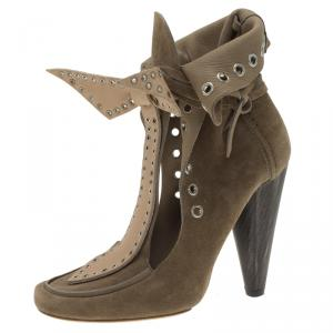 Isabel Marant Beige Suede Milla Eyelet Ankle Boots Size 37