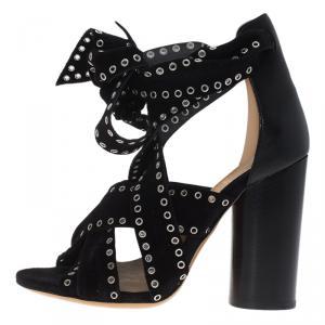 Isabel Marant Black Eyelet Suede Aydan Wrap Around Sandals Size 36