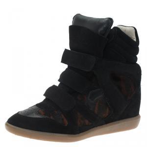Isabel Marant Black Suede and Brown Calf Hair Bekett Wedge Sneakers Size 39