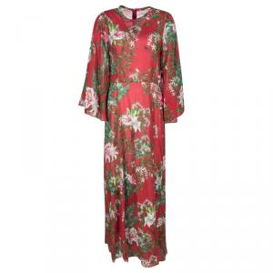Isabel Marant Etoile Red Floral Printed Cotton Bell Sleeve Detail Wanda Dress M