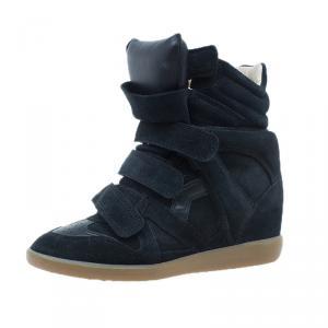 Isabel Marant Black Suede Bekett Wedge Sneakers Size 37