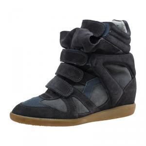 Isabel Marant Brown Suede Bekket Wedge Sneakers Size 39