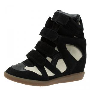 Isabel Marant Black and White Suede and Leather Bekett Wedge Sneakers Size 38