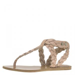 Isabel Marant Beige Braided Leather Brina Thong Sandals Size 37