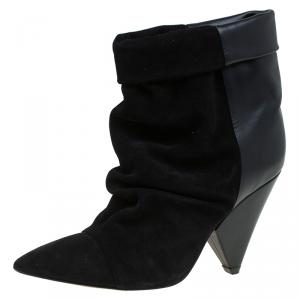 Isabel Marant Black Suede and Leather Andrew Ankle Boots Size 37
