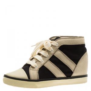Isabel Marant Two Tone Canvas Lace Up Wedge Sneakers Size 37