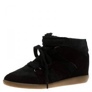Isabel Marant Black Suede Bobby Wedge Sneakers Size 37
