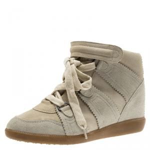 Isabel Marant Off -White Suede Bobby Lace Up Wedge Sneakers Size 37