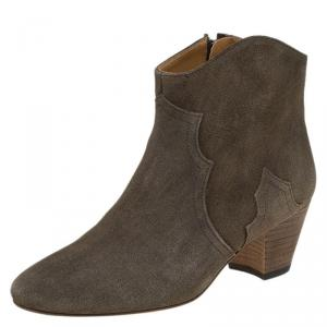 Isabel Marant Tan Brown Suede Dicker Ankle Boots Size 39