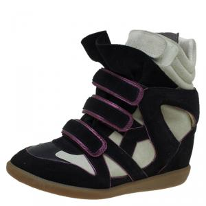 Isabel Marant Two Tone Suede and Leather Bekett Wedge Sneakers Size 40