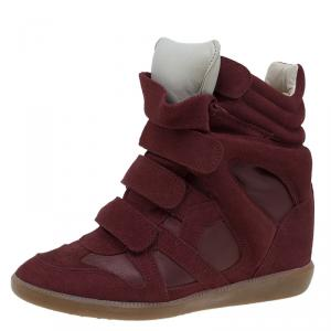 Isabel Marant Red Suede and Leather Bekett Wedge Sneakers Size 37