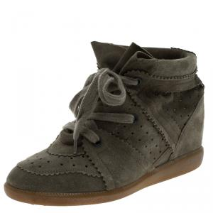 Isabel Marant Olive Green Perforated Suede Etoile Wedge Sneakers Size 40