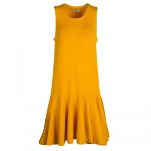 فستان عيسى فيولا تريكو أصفر مانجو واسع بلا أكمام M