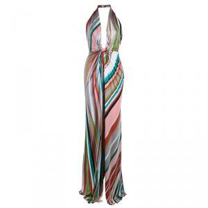 Issa London Multicolor Halter Back Maxi Dress S
