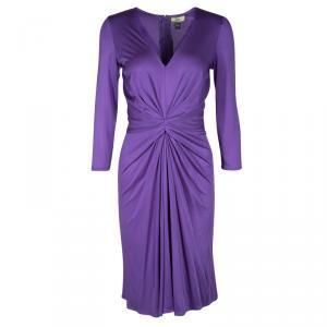 Issa Purple Silk Jersey Gathered Long Sleeve Dress M