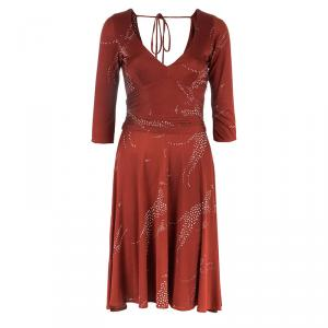 Issa London Red Silk Printed Dress S