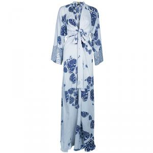Issa Blue and White Cotton Butterfly Maxi Dress S