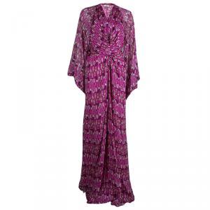 Issa London Pink Printed Long Sleeve Maxi Dress L