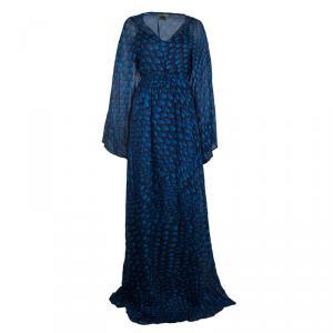 Issa London Blue Printed Silk Belted Kaftan Maxi Dress L