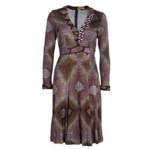 Issa Brown Geometric Long Sleeve Silk Jersey Dress M