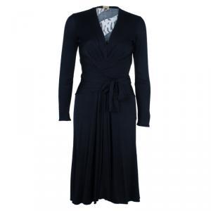 Issa Black Printed Silk Jersey Dress M